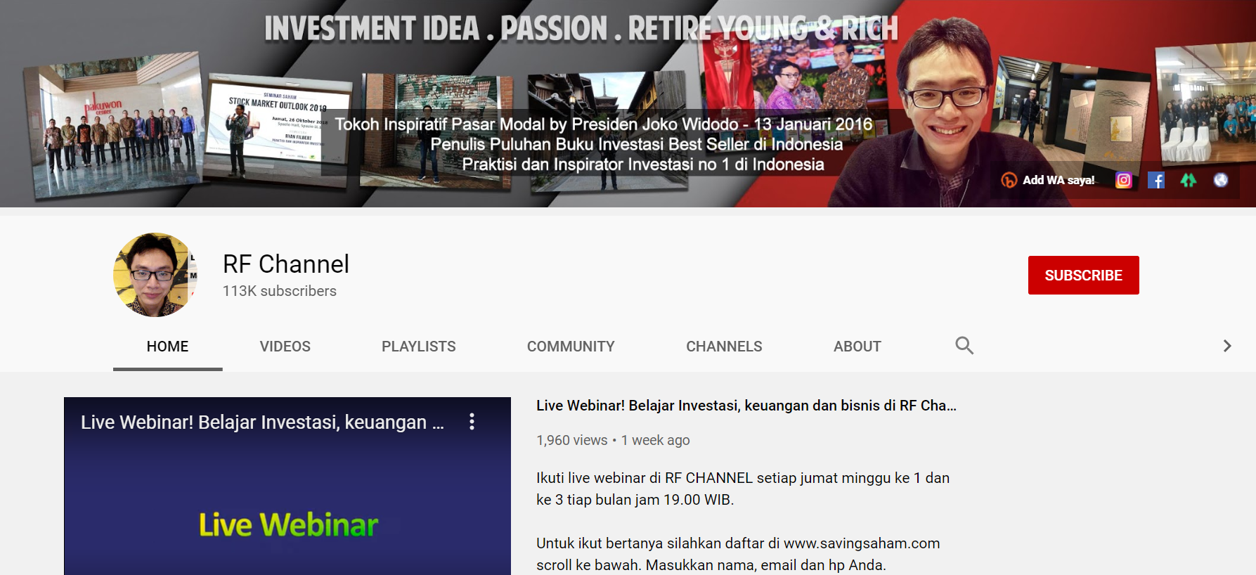 rf channel youtuber membahas investasi