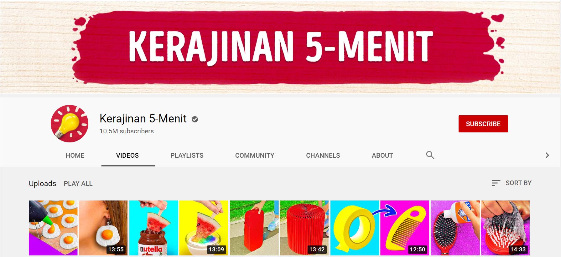 channel youtube kerajinan 5 menit
